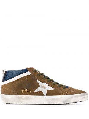 Ażurowy skórzany sneakersy z łatami zasznurować Golden Goose