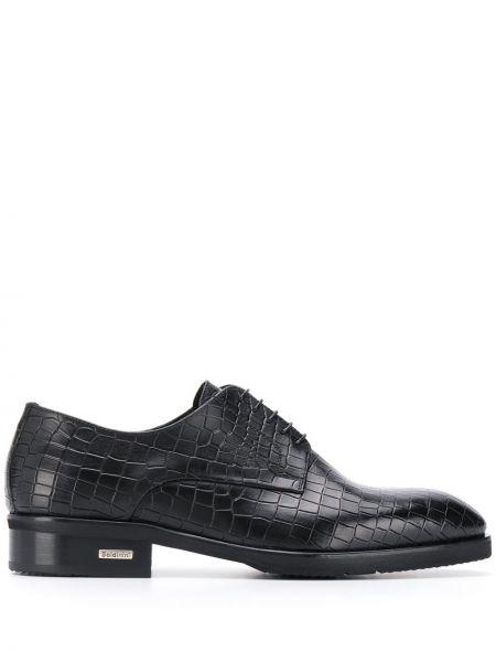 Туфли черные из кожи крокодила Baldinini