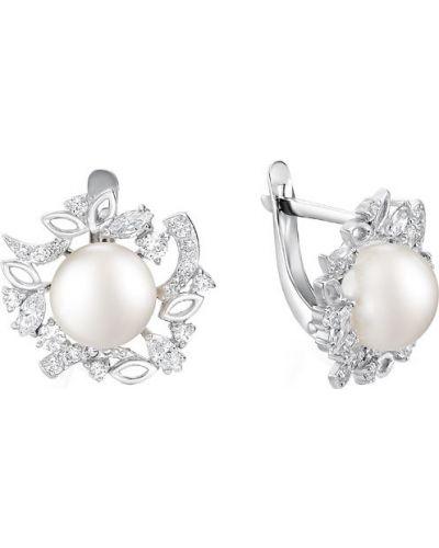 Серебряные серьги с жемчугом с фианитом De Fleur