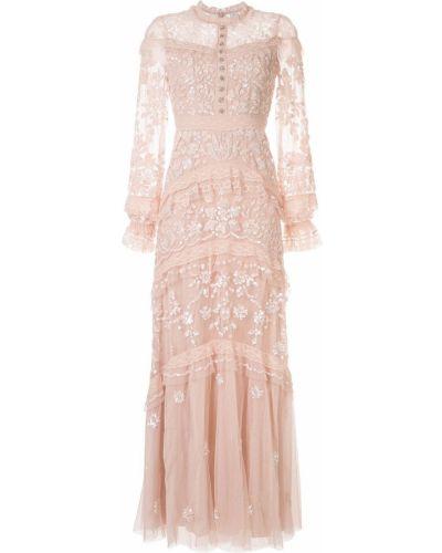Платье макси с длинными рукавами - розовое Needle & Thread
