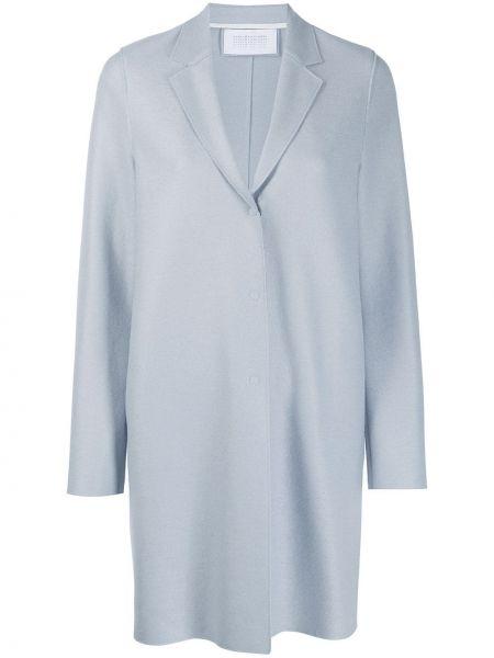 Однобортное свободное синее шерстяное пальто Harris Wharf London