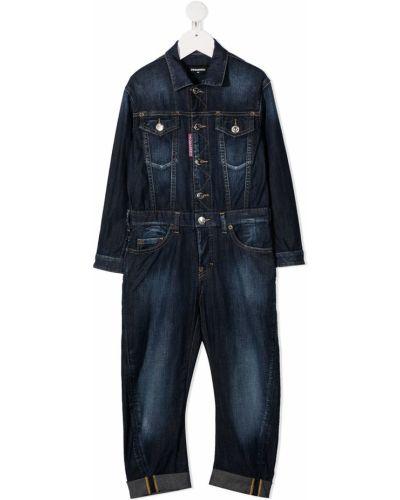 Niebieski kombinezon jeansowy z długimi rękawami bawełniany Dsquared2 Kids