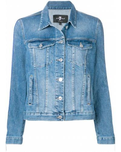 Синяя джинсовая куртка с манжетами на пуговицах 7 For All Mankind