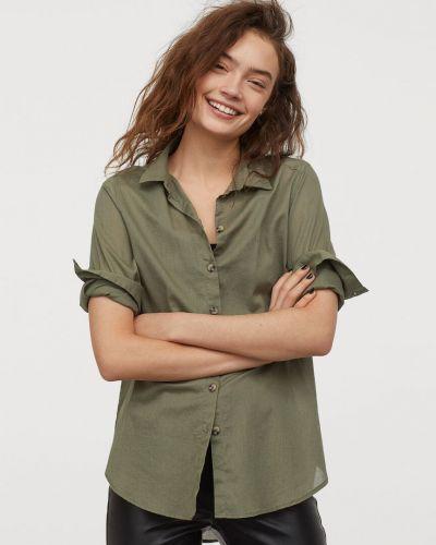 Зеленая рубашка с манжетами H&m