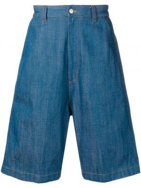 Bermudy jeansowe eleganckie bawełniane z paskiem Ami Paris