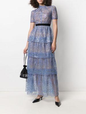 Платье мини короткое - синее Self-portrait