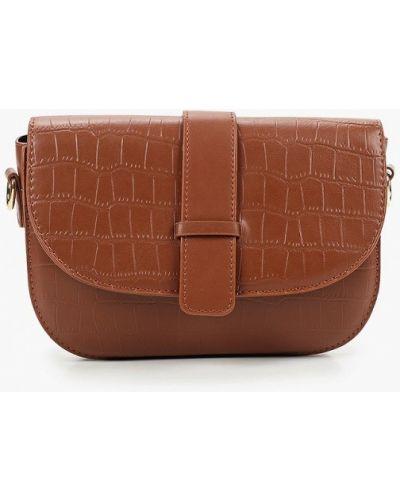 Кожаная коричневая сумка через плечо Pinkkarrot