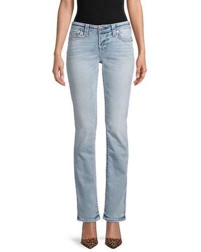 Хлопковые джинсы классические с карманами с заплатками True Religion