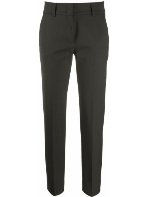 Czarne spodnie wełniane z paskiem Piazza Sempione