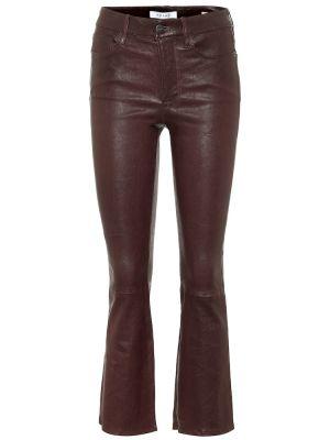 Коричневые кожаные укороченные брюки Frame