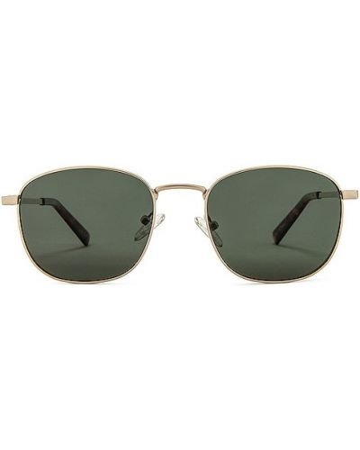 Złote okulary khaki Le Specs