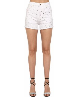 Белые с завышенной талией джинсовые шорты с карманами Alexandre Vauthier