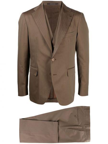 Brązowy garnitur w paski z paskiem Tagliatore