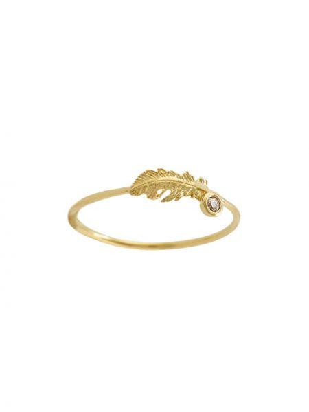 Żółty złoty pierścionek z diamentem Alex Monroe
