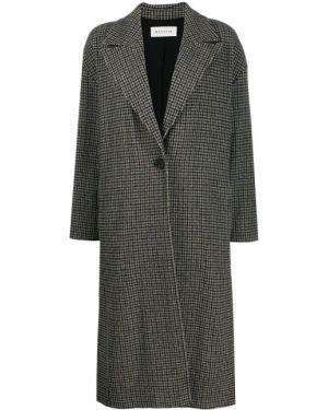 Однобортное шерстяное длинное пальто с капюшоном Masscob