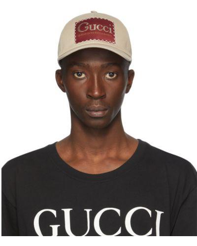 Bawełna z paskiem beżowy czapka z łatami Gucci