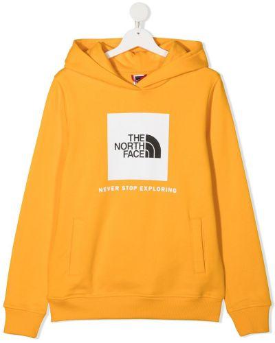 Желтая хлопковая с рукавами толстовка с капюшоном The North Face Kids