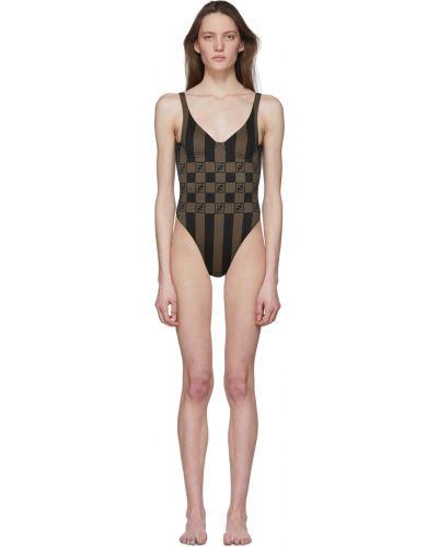 Czarny strój kąpielowy z nylonu z dekoltem w serek Fendi