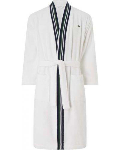 Biały długi szlafrok bawełniany z długimi rękawami Lacoste