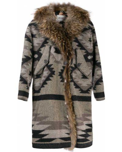 Длинное пальто серое без воротника Bazar Deluxe