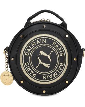 Czarny plecak skórzany z haftem Puma X Balmain