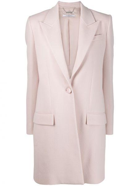 Розовое шерстяное пальто с капюшоном Givenchy