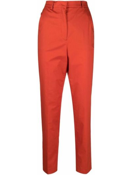 Хлопковые красные с завышенной талией брюки Incotex