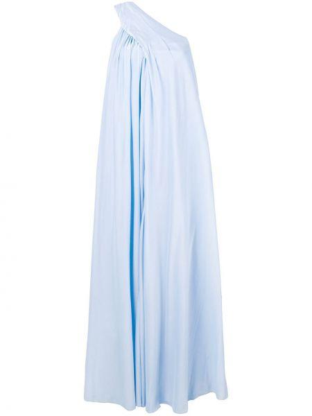 Приталенное шелковое платье на одно плечо с драпировкой Lanvin