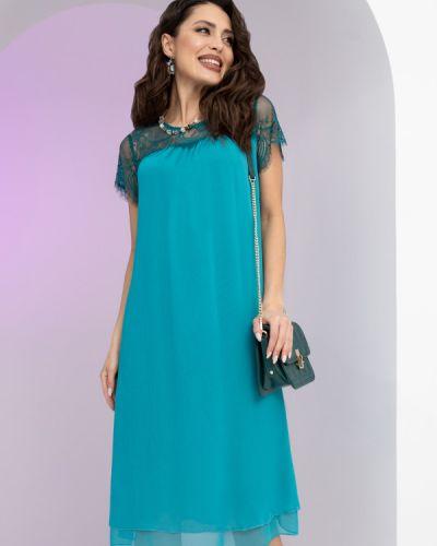 Шифоновое кружевное с рукавами вечернее платье Charutti