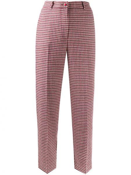 Красные акриловые прямые укороченные брюки на пуговицах Blumarine