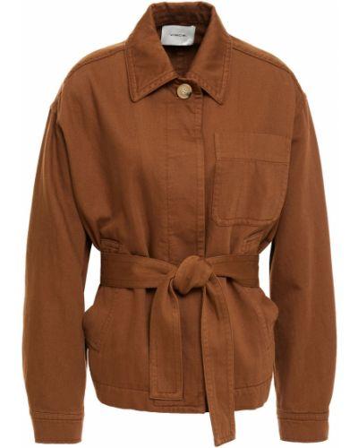 Ватная коричневая джинсовая куртка с поясом Vince