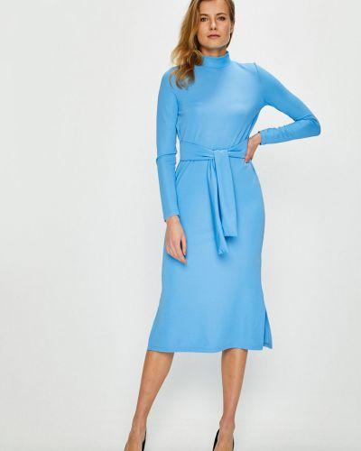Платье миди с длинными рукавами синее Noisy May