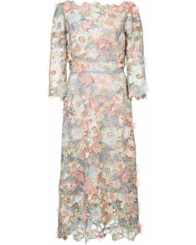 Платье с поясом розовое с открытой спиной Marchesa Notte