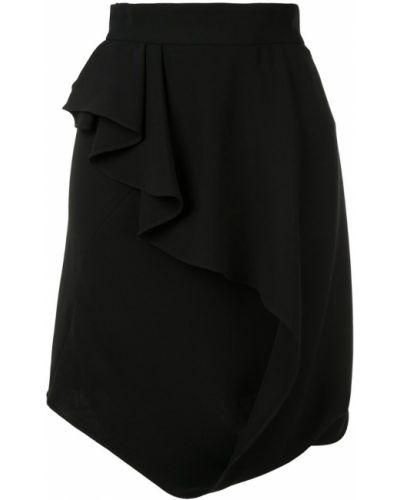 Черная прямая юбка мини с оборками с рукавом 3/4 Bianca Spender
