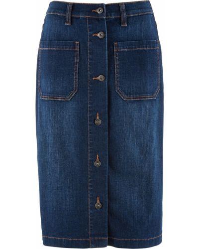 Джинсовая юбка на пуговицах темный Bonprix