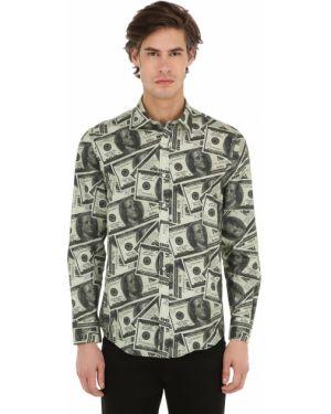 Klasyczna klasyczna koszula bawełniana z printem Make Money Not Friends