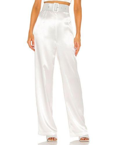 Jedwab biały klasyczne spodnie z paskiem w połowie kolana Bronx And Banco