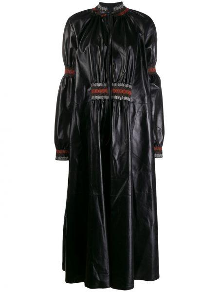 Платье черное с оборками Loewe