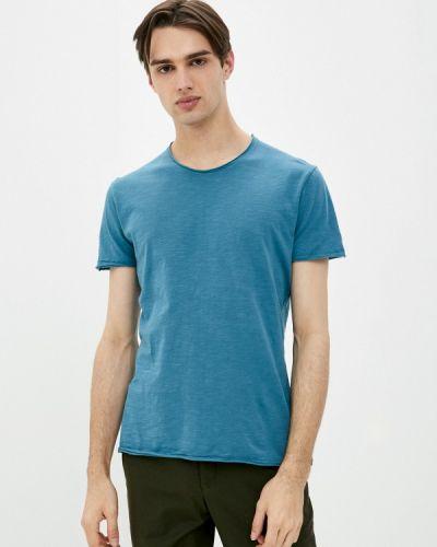 Синяя с рукавами футболка Sisley