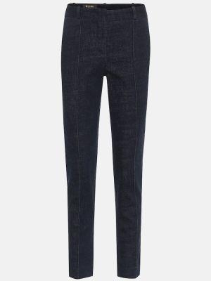 Ватные хлопковые синие зауженные джинсы-скинни Loro Piana