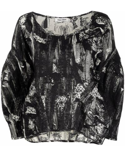 Черная хлопковая блузка Henrik Vibskov