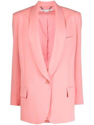 Шерстяной розовый удлиненный пиджак с карманами Stella Mccartney