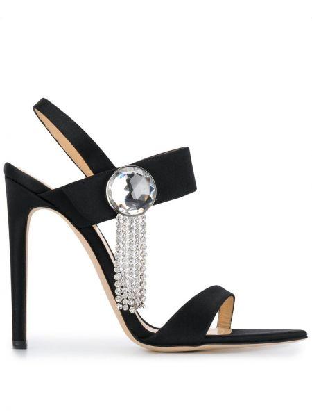 Кожаные с ремешком черные открытые босоножки Chloe Gosselin