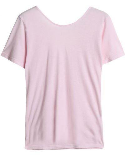 T-shirt bawełniana - różowa Monrow