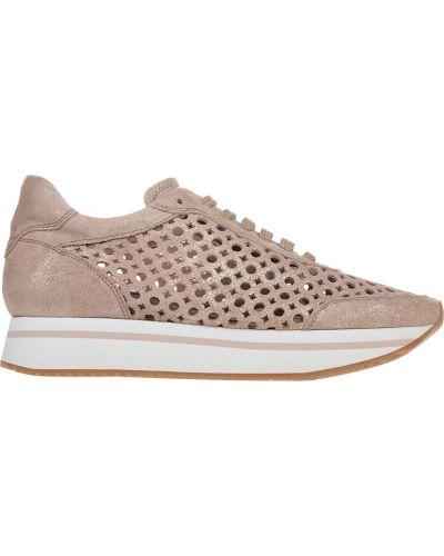 Кроссовки на платформе замшевые розовый Pertini