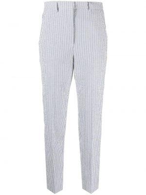 Хлопковые серые брюки в полоску Incotex