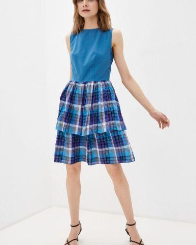 Синее платье осеннее Adzhedo