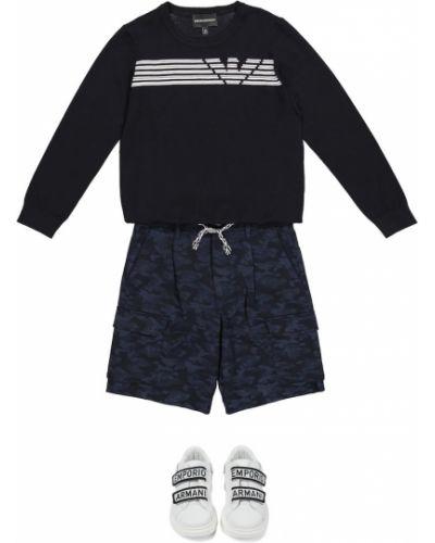 Czarny sweter w paski z wiskozy Emporio Armani Kids