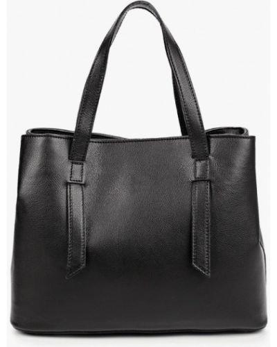 Черная сумка с ручками из натуральной кожи Lamania