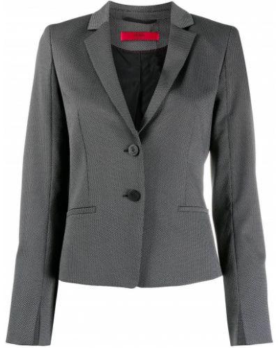 Однобортный черный приталенный классический пиджак Boss Hugo Boss